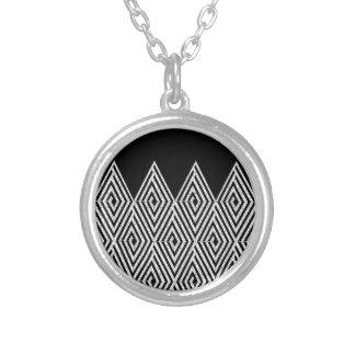Zigzag Diamond Chevron Tribal pattern Silver Plated Necklace