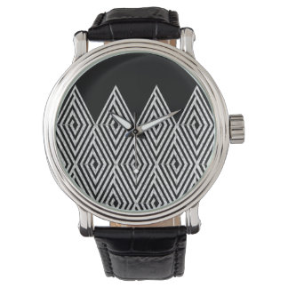 Zigzag Diamond Chevron Tribal pattern Wristwatch
