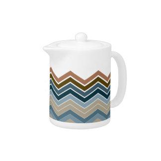 Zigzag Earth & Water Colors Tea Pot