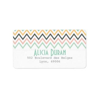 Zigzag femenino moderno de Chevron personalizado Etiqueta De Dirección