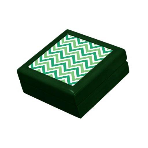 Zigzag-galones verdes joyero cuadrado pequeño