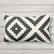 Zigzag Geometric Pattern Black and Cream Lumbar Pillow