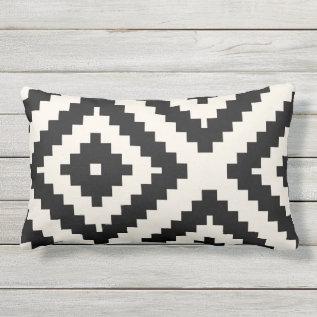 Zigzag Geometric Pattern Black And Cream Lumbar Pillow at Zazzle