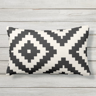 Zigzag Geometric Pattern Black and Cream Outdoor Pillow