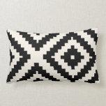 Zigzag Geometric Pattern Black and Cream Pillow