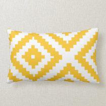 Zigzag Geometric Pattern Yellow and White Lumbar Pillow