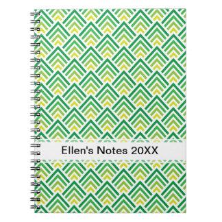 Zigzag geométrico de Chevron del verde brillante d Libreta