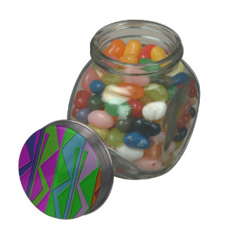ZigZag Glass Candy Jar w/ Tin Top & Jelly Beans