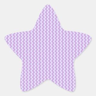 Zigzag - glicinia y lavanda pálida pegatina en forma de estrella