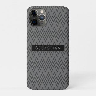 Zigzag Grey Pattern Personalized Case-Mate iPhone Case