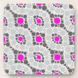 Zigzag gris rosado posavasos de bebida