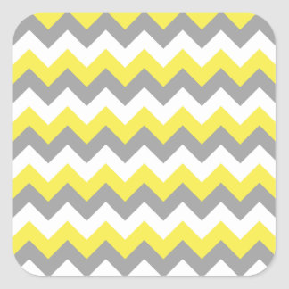 Zigzag gris y blanco 2 del narciso pegatina cuadrada