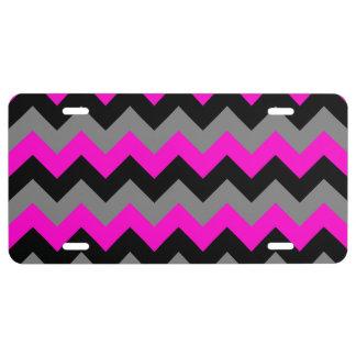 Zigzag gris y negro rosado de neón placa de matrícula