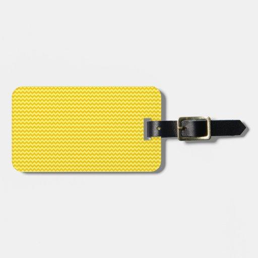 Zigzag horizontal - amarillo y amarillo de la mand etiqueta de equipaje