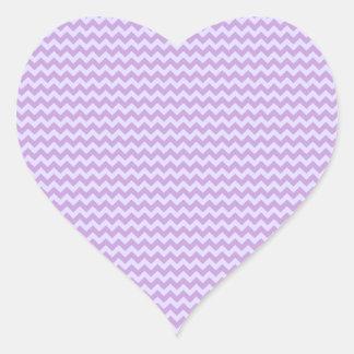 Zigzag horizontal - glicinia y lavanda pálida pegatina en forma de corazón