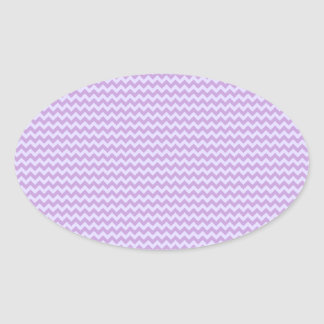 Zigzag horizontal - glicinia y lavanda pálida pegatina ovalada