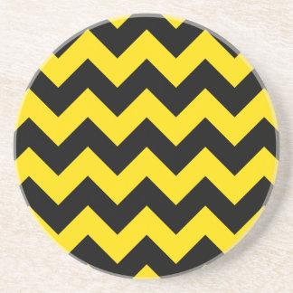 Zigzag I - Amarillo negro y de oro Posavasos Cerveza