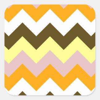 Zigzag I - Amarillo, rosado, anaranjado, blanco, Pegatina Cuadrada