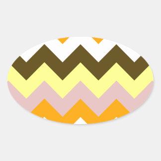 Zigzag I - Amarillo, rosado, anaranjado, blanco, Pegatina Ovalada