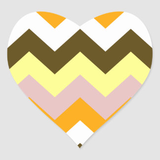 Zigzag I - Amarillo, rosado, anaranjado, blanco, Pegatina En Forma De Corazón