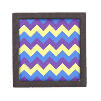 Zigzag I - Amarillo, violeta, azul Cajas De Recuerdo De Calidad
