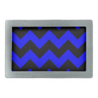 Zigzag I - Black and Blue Rectangular Belt Buckle