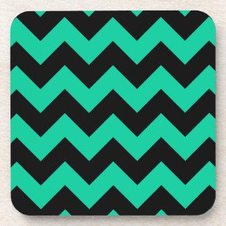 Zigzag I - Black and Caribbean Green Beverage Coaster