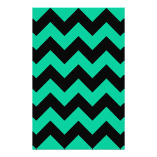 Zigzag I - Black and Caribbean Green Personalized Stationery