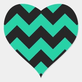 Zigzag I - Black and Caribbean Green Heart Sticker