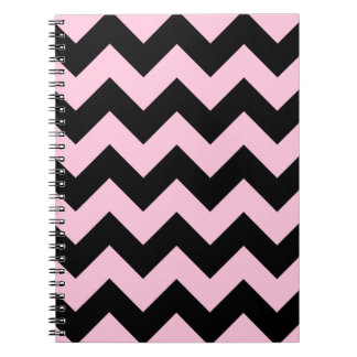 Zigzag I - Black and Cotton Candy Spiral Note Books