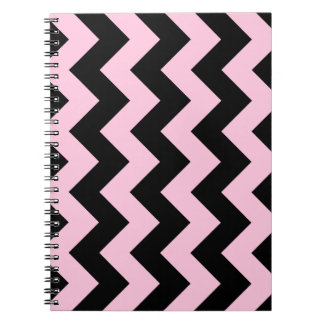 Zigzag I - Black and Cotton Candy Spiral Notebooks