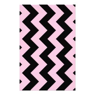 Zigzag I - Black and Cotton Candy Custom Stationery