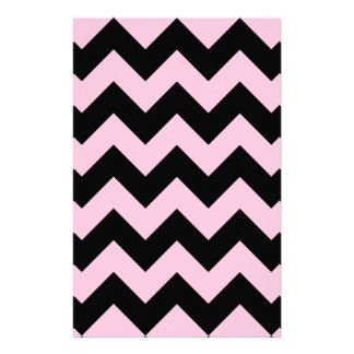 Zigzag I - Black and Cotton Candy Personalized Stationery