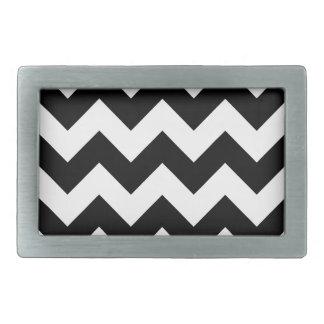 Zigzag I - Black and Cream Rectangular Belt Buckle