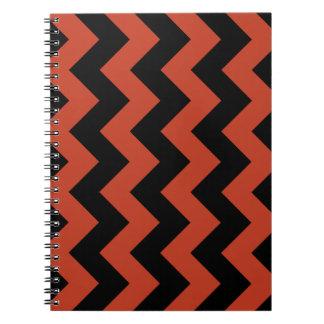 Zigzag I - Black and Dark Pastel Red Note Books
