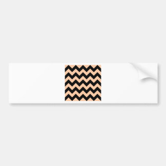 Zigzag I - Black and Deep Peach Bumper Stickers