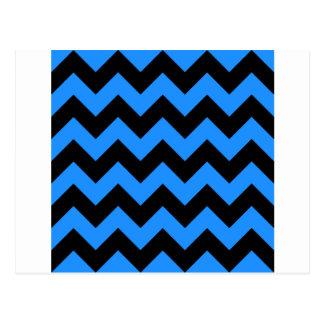 Zigzag I - Black and Dodger Blue Postcard