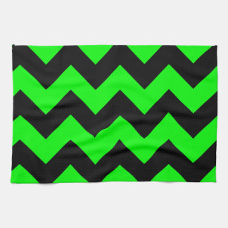 Zigzag I - Black and Electric Green Hand Towels