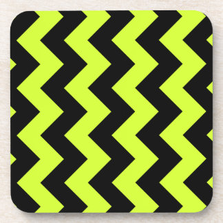 Zigzag I - Black and Fluorescent Yellow Drink Coaster