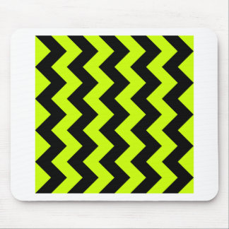 Zigzag I - Black and Fluorescent Yellow Mousepads