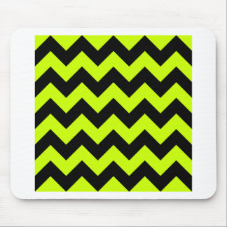 Zigzag I - Black and Fluorescent Yellow Mousepad