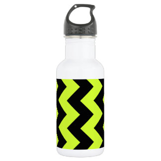 Zigzag I - Black and Fluorescent Yellow Stainless Steel Water Bottle