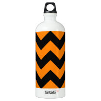 Zigzag I - Black and Orange Aluminum Water Bottle