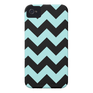 Zigzag I - Black and Pale Blue iPhone 4 Covers