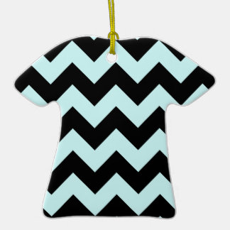 Zigzag I - Black and Pale Blue Christmas Ornament