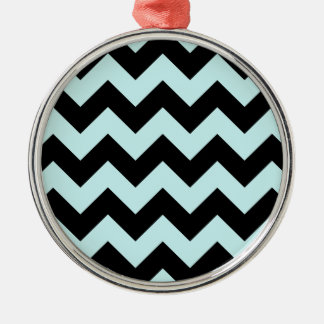 Zigzag I - Black and Pale Blue Ornament