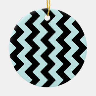 Zigzag I - Black and Pale Blue Christmas Tree Ornament