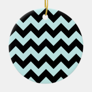Zigzag I - Black and Pale Blue Christmas Ornaments