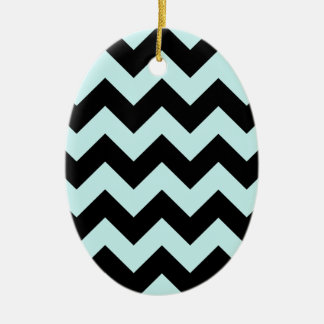 Zigzag I - Black and Pale Blue Christmas Tree Ornaments