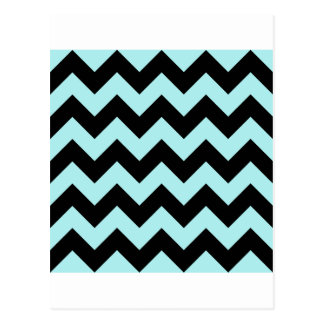 Zigzag I - Black and Pale Blue Postcard